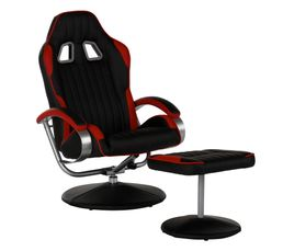 meubles fauteuil relax avec repose pied gamer geek noir et rouge. Black Bedroom Furniture Sets. Home Design Ideas
