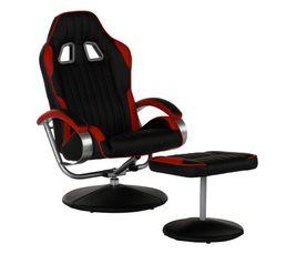 Meubles fauteuil relax avec repose pied gamer geek noir et - Fauteuil relax avec repose pied ...