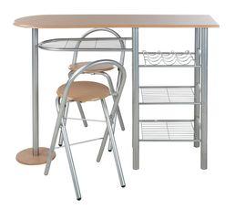 Bar + 2 chaises pliantes TIPUNCH Gris et hêtre