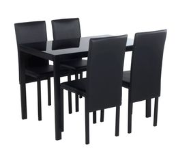 Ensemble table + 4 chaises MATHILDE Noir