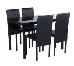 ensemble table 4 chaises mathilde noir pas cher avis et prix en promo. Black Bedroom Furniture Sets. Home Design Ideas