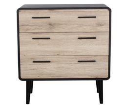 commode 3 tiroirs sixties pvc noir et imitation ch ne commodes chiffonniers but. Black Bedroom Furniture Sets. Home Design Ideas