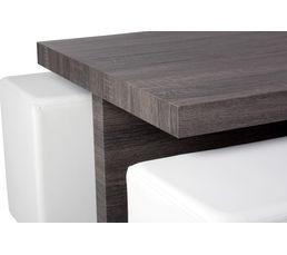 Table basse + 4 poufs HAILEY Chêne