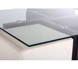 Table basse + 4 poufs LAUREN Noir et blanc