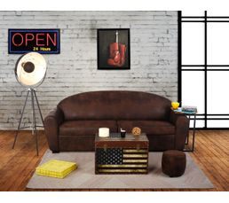 canap 3 places club convertible 140x190 cm vintage. Black Bedroom Furniture Sets. Home Design Ideas