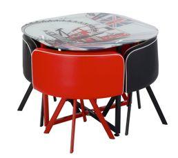 Ensemble table et 4 chaises MANCHESTER Noir et rouge