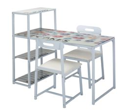 Table + 2 chaises COOKY blanc