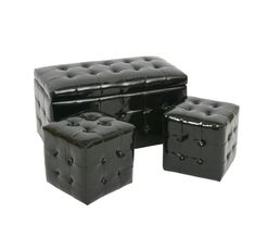 Lot de 3 poufs noir brillant LILOU