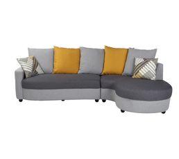 Canapé d'angle droit Tissu gris et jaune ORIENT