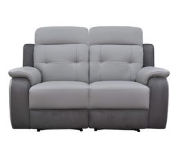 Canapé 2 places 2 Relax élect. CARAVELLE II Cuir/Croûte cuir Gr/Mic.Gris