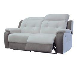 Canapé 3 places 2 Relax élect. CARAVELLE II Cuir/Croûte cuir Gr/Mic.Gris