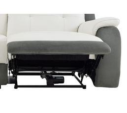 Canapé 3 places 2 Relax élect. CARAVELLE II Cuir/Croûte cuir Blc/Micr.Gris