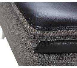Canapé d'angle gauche convertible cuir noir tissu gris EROS