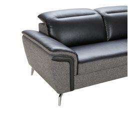 Canapé d'angle convertible cuir noir tissu gris EROS