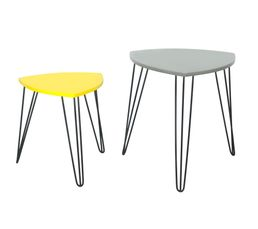 Tables Basses - Tables gigognes FALKO Gris et jaune