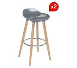 Lot de 2 tabourets de bar RODEO gris