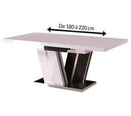 STELLAR Table extensible Blanc et noir