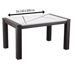 Tables - Table de séjour extensible LINES Bois gris et blanc