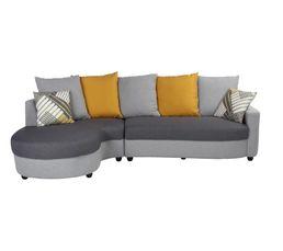 Canapé d'angle gauche Tissu gris et jaune ORIENT