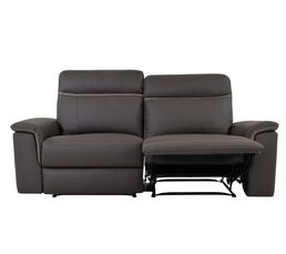 Canapé 3 places 2 relax manuel KEN Cuir/croûte cuir/tissu