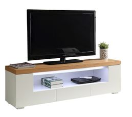 Meuble TV LED KLYND Blanc et chêne
