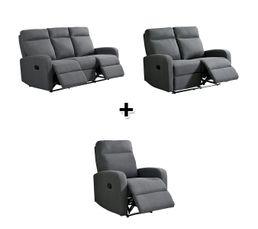 Ensemble canapés relaxation 3 + 2 + 1  places OSCAR tissu gris clair