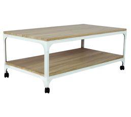 SMITH Table basse fixe Chêne et blanc