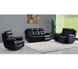 canap relax 3 places edgar cuir noir canap s but. Black Bedroom Furniture Sets. Home Design Ideas