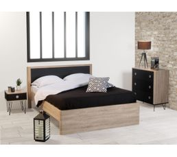 lit 140x190 cm enel coloris ch ne et noir lits but. Black Bedroom Furniture Sets. Home Design Ideas