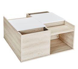Table basse coffre & rangement LEONA Bois grisé et blanc