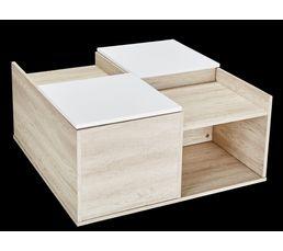 LEONA Table basse coffre & rangement Bois grisé et blanc