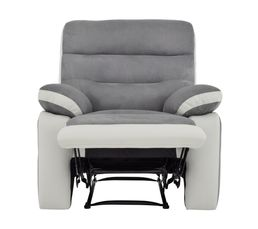 fauteuil relax manuel princeton micro pu gris fauteuils but. Black Bedroom Furniture Sets. Home Design Ideas