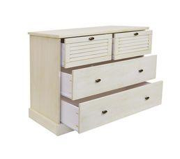 Commode 4 tiroirs OLIVE Coloris pin blanchi