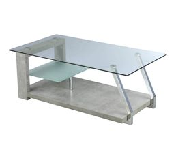 DIANE Table basse fixe Béton/verre