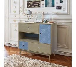 1 niche 1 porte Commode 3 tiroirs MILA BLUE