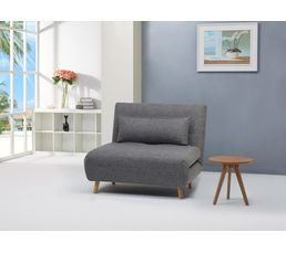 Fauteuil convertible lit Tissu gris IGLOO