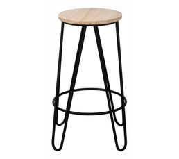tabouret de bar h 63 cm essia bois clair noir tabourets but. Black Bedroom Furniture Sets. Home Design Ideas