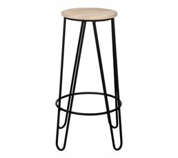 tabouret de bar cm essia bois clair noir tabourets but. Black Bedroom Furniture Sets. Home Design Ideas