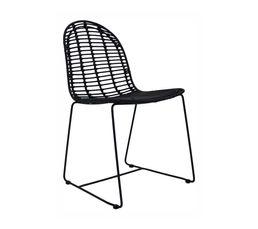 ALIZA Chaise en rotin Noir