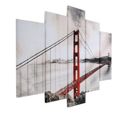 Set de 5 toiles 150X100 SAN FRANCISCO Beige/Rouge