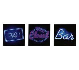 Photographies - Set de 3 Box Art 20X20 DISCO BAR Bleu