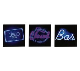 Set de 3 Box Art 20X20 DISCO BAR Bleu