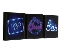 Photographies - Set de 3 Box Art 20X20 DISCO BAR Bleu