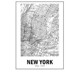 NYC MAP Toile 50x70cm Blanc