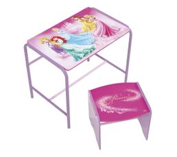 Bureau + tabouret enfant PRINCESSES rose