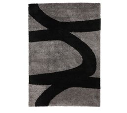 tapis 160x230 cm aaron noir gris. Black Bedroom Furniture Sets. Home Design Ideas