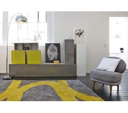 Tapis 160x230 cm aaron jaune gris tapis but for Salon jaune et gris