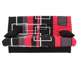 banquette lit clic clac porto labyrinthe noir rouge banquettes but. Black Bedroom Furniture Sets. Home Design Ideas