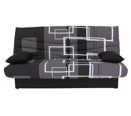 Banquette lit clic clac porto labyrinthe noir gris for Reprise ancien canape but