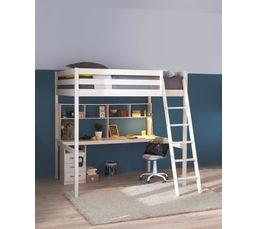 Lit mezzanine 140x190 cm happy 80 13507 2 blanc lits superpos s et mezzanin - Dimension lit mezzanine 2 places ...
